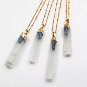 Jewelry - NEW White selenite necklace with blue kyanite